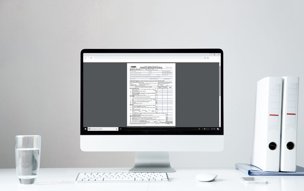 Tax Document on computer screen