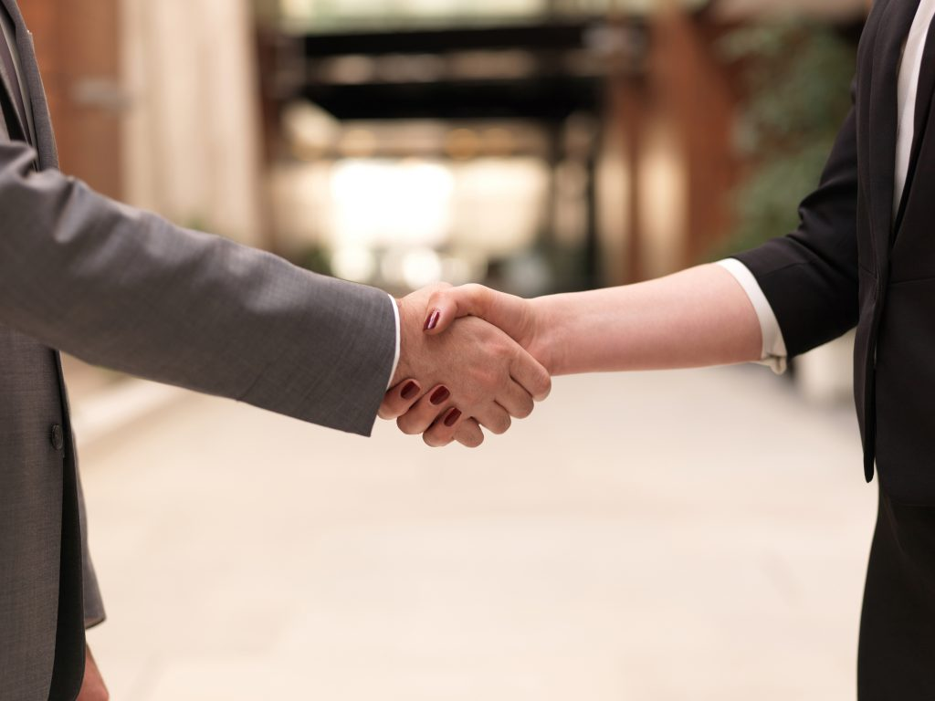 Handshake between client and tax professional