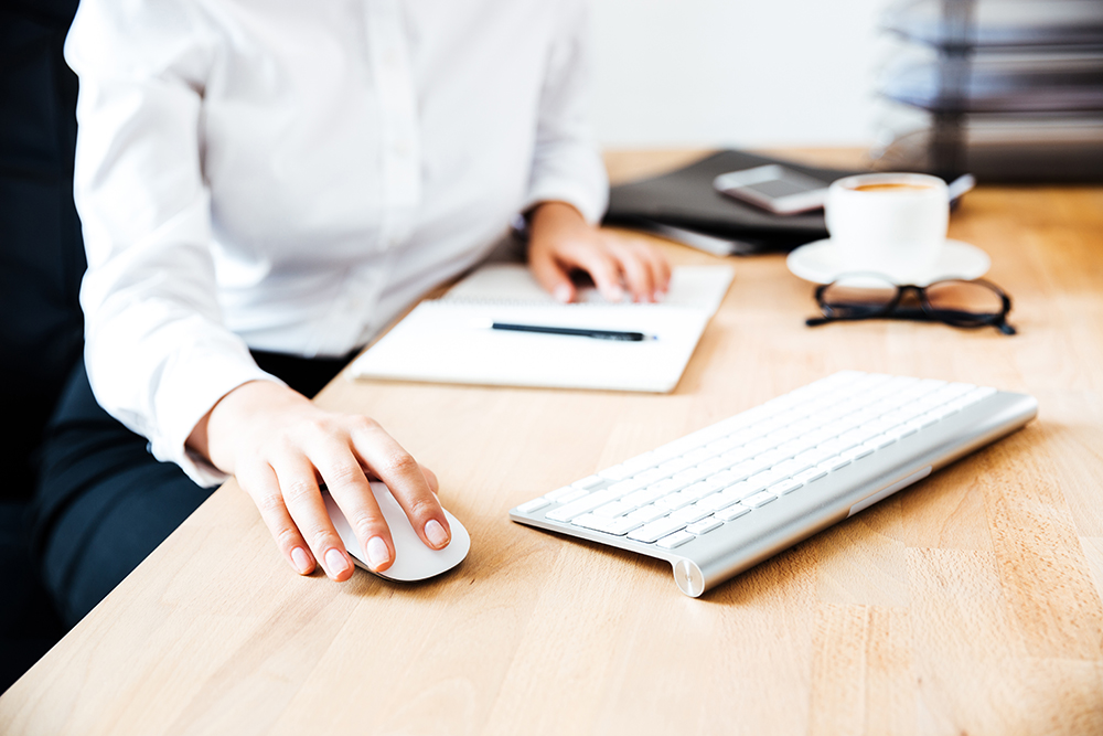Bookkeeper using keyboard and mouse at office