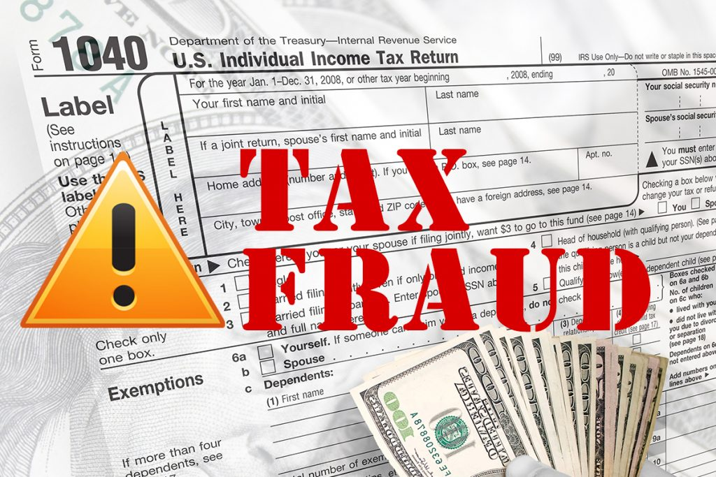 Tax Fraud in Red text over a tax document